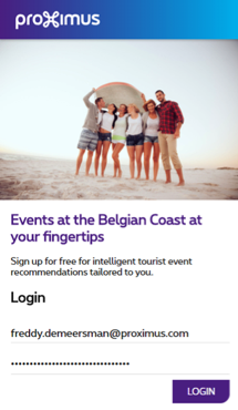 [image: home screen of the app 'events at the Belgian coast']